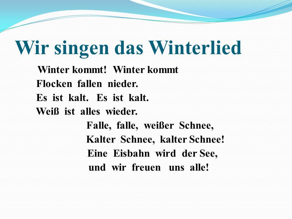 Wir singen das Winterlied Winter kommt! Winter kommt Flocken fallen nieder. Es ist kalt. Es ist kalt. Weiß ist alles wieder. Falle, falle, weißer Schn