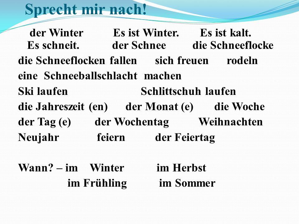 Wir beschreiben den Winter