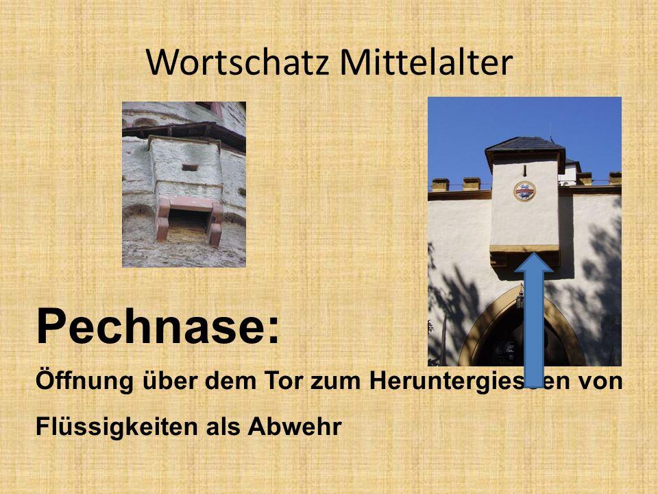 Wortschatz Mittelalter Pechnase: Öffnung über dem Tor zum Heruntergiessen von Flüssigkeiten als Abwehr