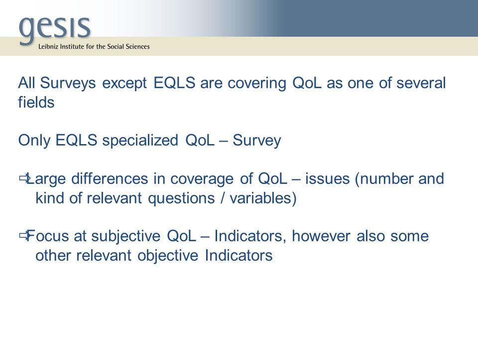 Pronounced differences in survey quality Criteria, e.g.