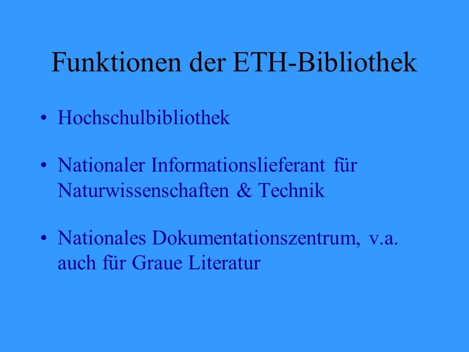 Funktionen der ETH-Bibliothek Hochschulbibliothek Nationaler Informationslieferant für Naturwissenschaften & Technik Nationales Dokumentationszentrum, v.a.