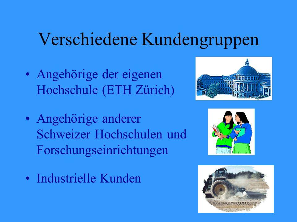 Verschiedene Kundengruppen Angehörige der eigenen Hochschule (ETH Zürich) Angehörige anderer Schweizer Hochschulen und Forschungseinrichtungen Industrielle Kunden