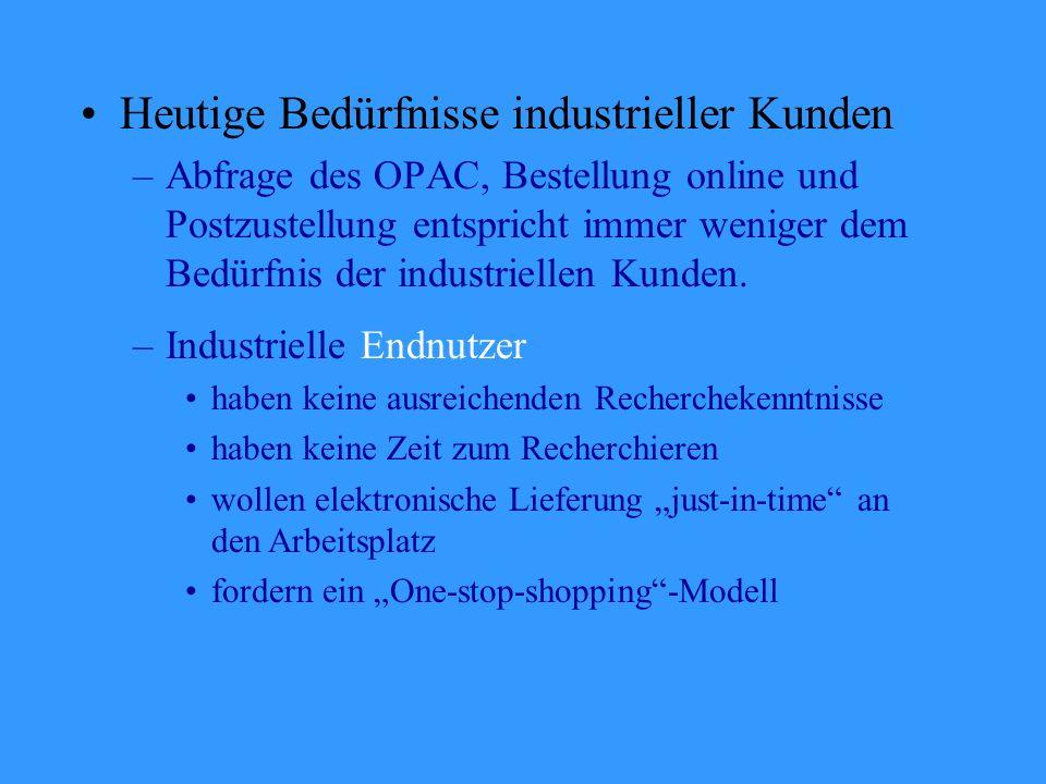 Heutige Bedürfnisse industrieller Kunden –Abfrage des OPAC, Bestellung online und Postzustellung entspricht immer weniger dem Bedürfnis der industriellen Kunden.