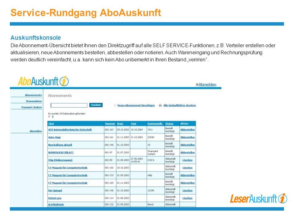 Service-Rundgang AboAuskunft Auskunftskonsole Die Abonnement-Übersicht bietet Ihnen den Direktzugriff auf alle SELF SERVICE-Funktionen, z.B.