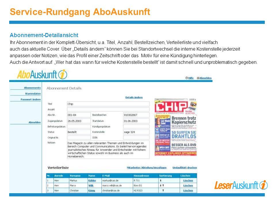 Service-Rundgang AboAuskunft Abonnement-Detailansicht Ihr Abonnement in der Komplett-Übersicht, u.a.