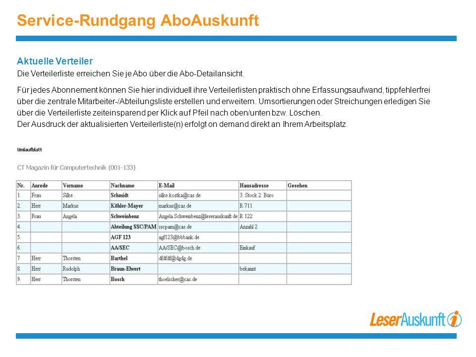 Service-Rundgang AboAuskunft Aktuelle Verteiler Die Verteilerliste erreichen Sie je Abo über die Abo-Detailansicht.