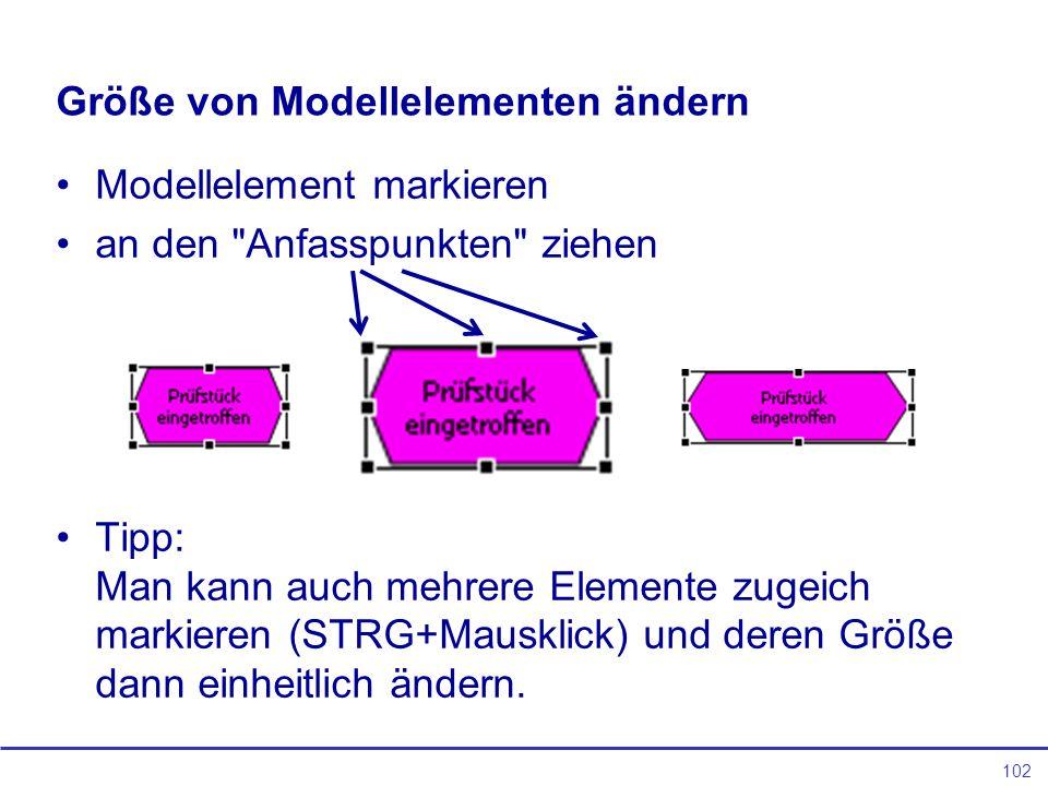 102 Größe von Modellelementen ändern Modellelement markieren an den Anfasspunkten ziehen Tipp: Man kann auch mehrere Elemente zugeich markieren (STRG+Mausklick) und deren Größe dann einheitlich ändern.