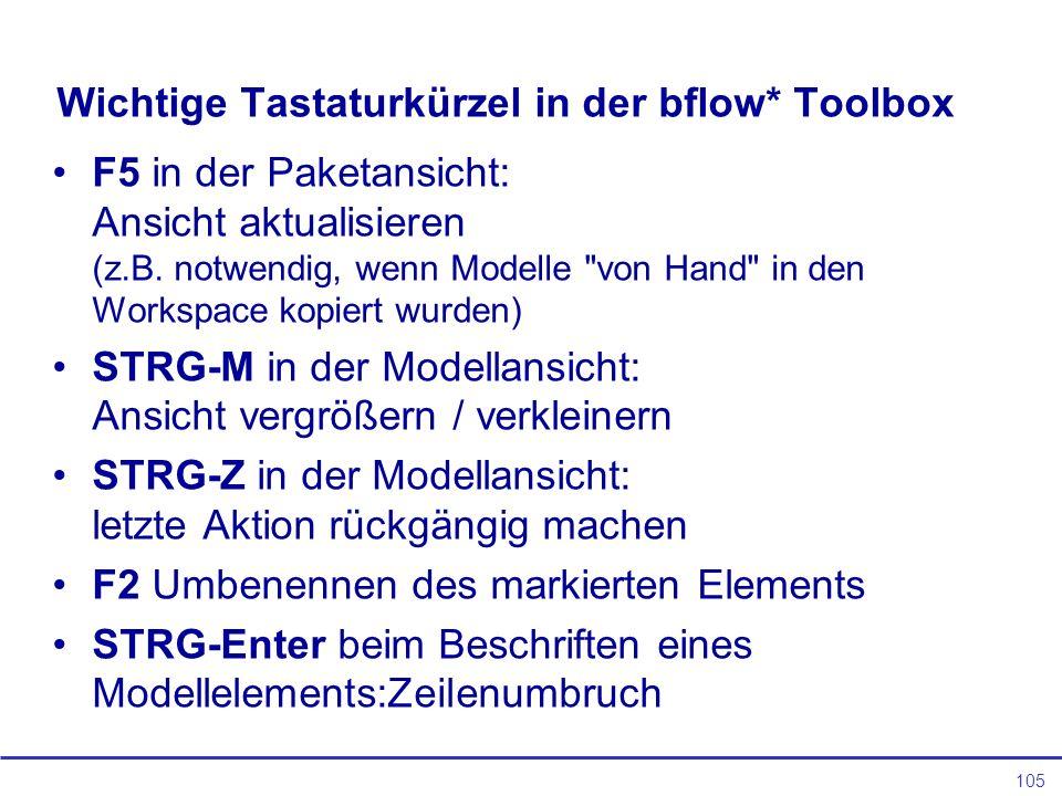 105 Wichtige Tastaturkürzel in der bflow* Toolbox F5 in der Paketansicht: Ansicht aktualisieren (z.B.