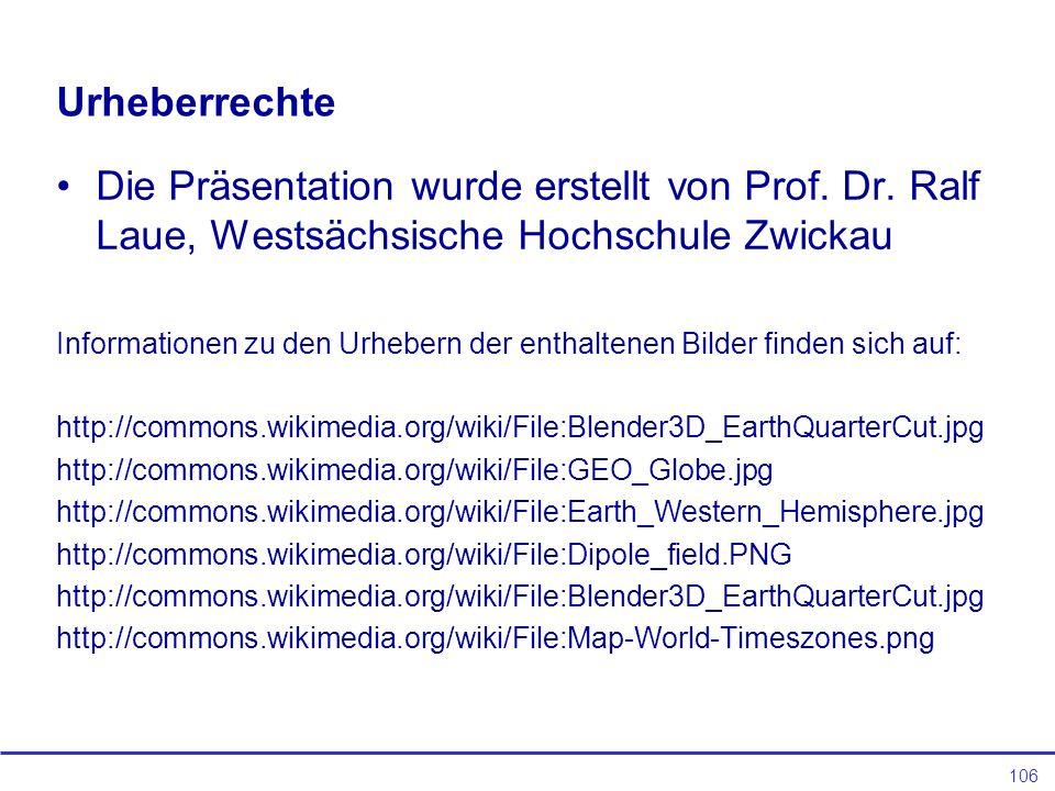 106 Urheberrechte Die Präsentation wurde erstellt von Prof.