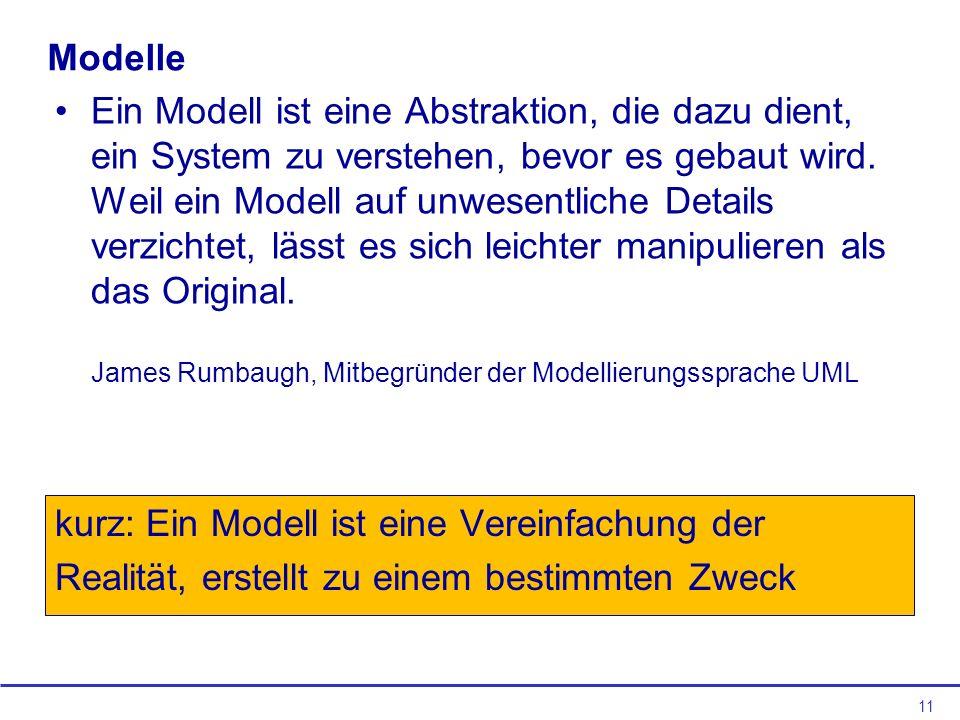11 Modelle Ein Modell ist eine Abstraktion, die dazu dient, ein System zu verstehen, bevor es gebaut wird.