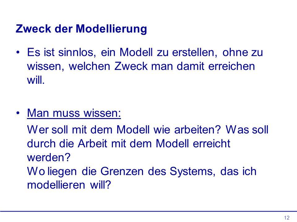 12 Zweck der Modellierung Es ist sinnlos, ein Modell zu erstellen, ohne zu wissen, welchen Zweck man damit erreichen will.