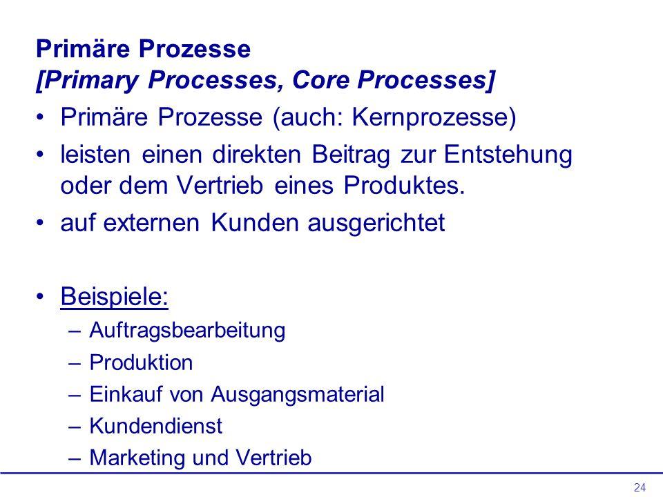 24 Primäre Prozesse [Primary Processes, Core Processes] Primäre Prozesse (auch: Kernprozesse) leisten einen direkten Beitrag zur Entstehung oder dem Vertrieb eines Produktes.