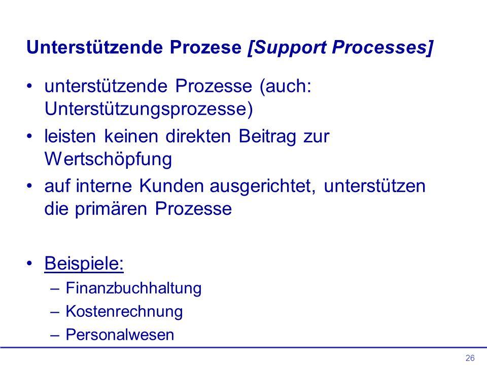 26 Unterstützende Prozese [Support Processes] unterstützende Prozesse (auch: Unterstützungsprozesse) leisten keinen direkten Beitrag zur Wertschöpfung auf interne Kunden ausgerichtet, unterstützen die primären Prozesse Beispiele: –Finanzbuchhaltung –Kostenrechnung –Personalwesen