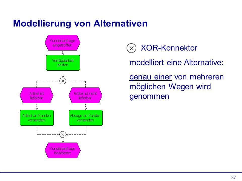37 Modellierung von Alternativen XOR-Konnektor modelliert eine Alternative: genau einer von mehreren möglichen Wegen wird genommen