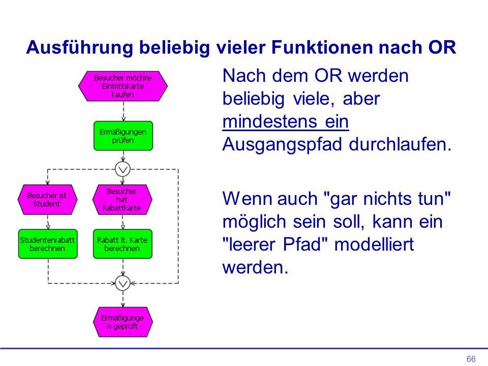 66 Ausführung beliebig vieler Funktionen nach OR Nach dem OR werden beliebig viele, aber mindestens ein Ausgangspfad durchlaufen.