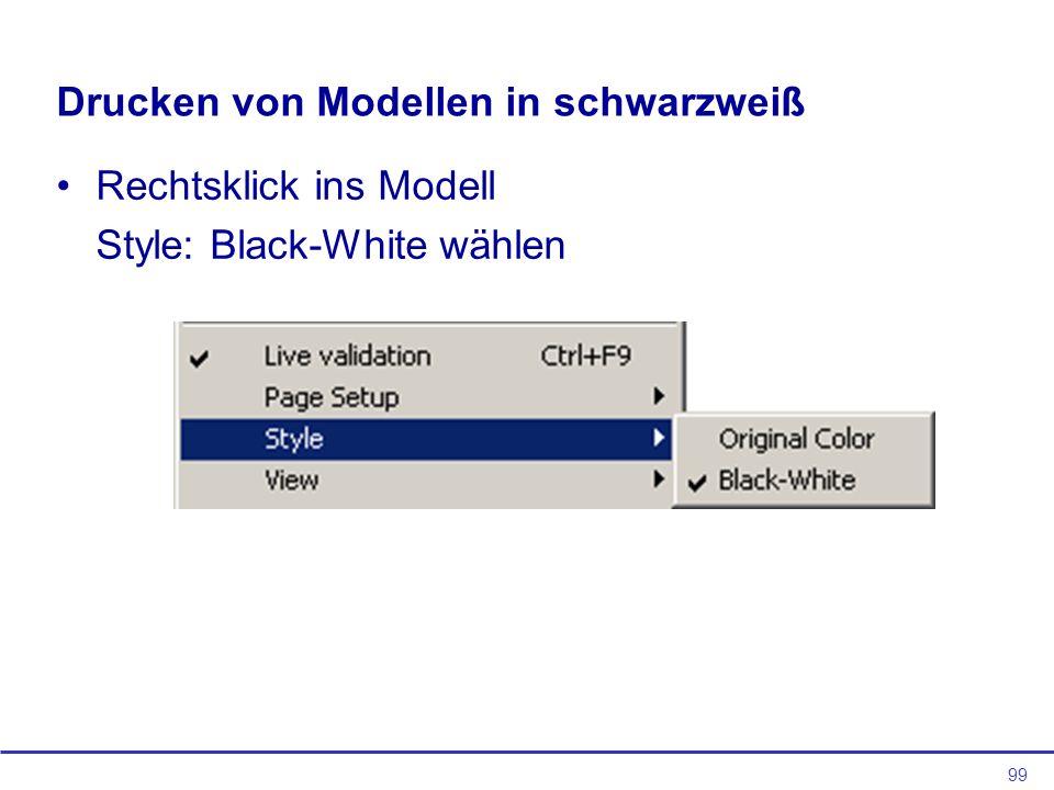 99 Drucken von Modellen in schwarzweiß Rechtsklick ins Modell Style: Black-White wählen