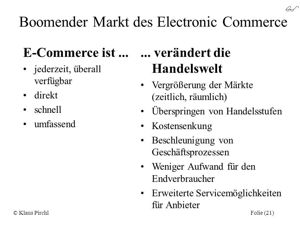 Boomender Markt des Electronic Commerce E-Commerce ist... jederzeit, überall verfügbar direkt schnell umfassend... verändert die Handelswelt Vergrößer