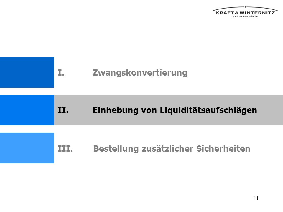11 II.Einhebung von Liquiditätsaufschlägen III.Bestellung zusätzlicher Sicherheiten I.