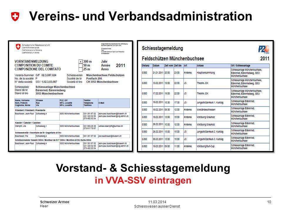 10 Schweizer Armee Heer Schiesswesen ausser Dienst 11.03.2014 Vorstand- & Schiesstagemeldung in VVA-SSV eintragen Vereins- und Verbandsadministration