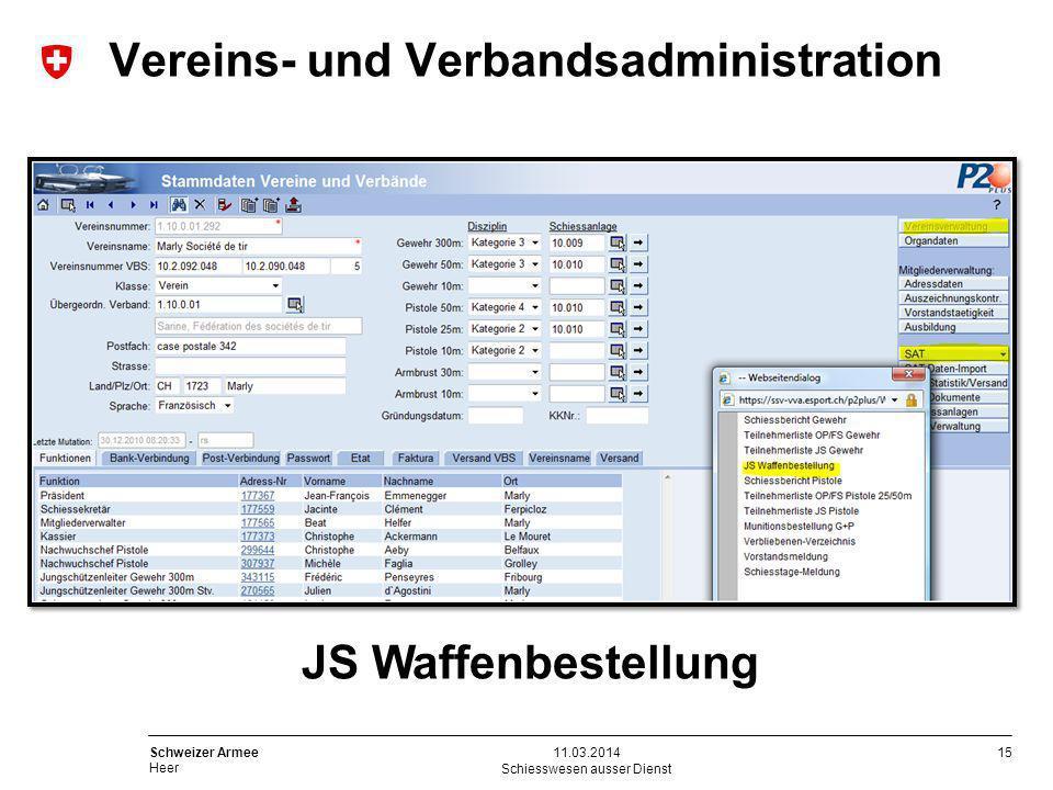 15 Schweizer Armee Heer Schiesswesen ausser Dienst 11.03.2014 Vereins- und Verbandsadministration JS Waffenbestellung
