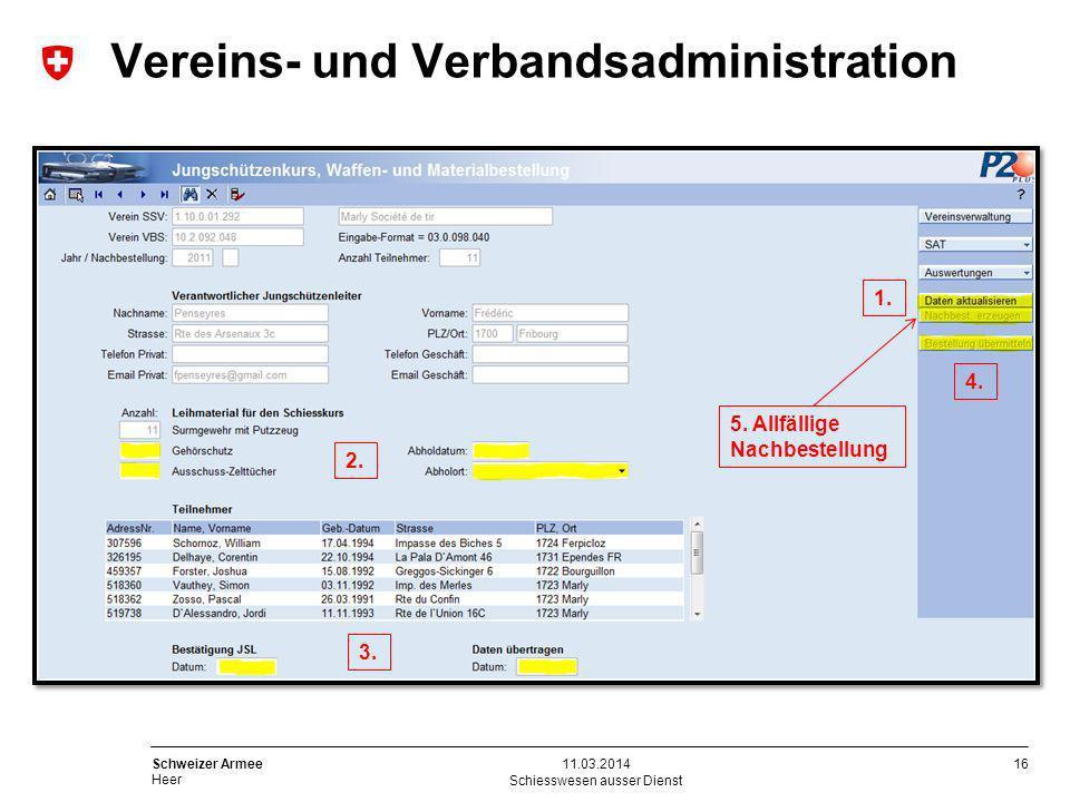 16 Schweizer Armee Heer Schiesswesen ausser Dienst 11.03.2014 Vereins- und Verbandsadministration 1. 2. 3. 4. 5. Allfällige Nachbestellung