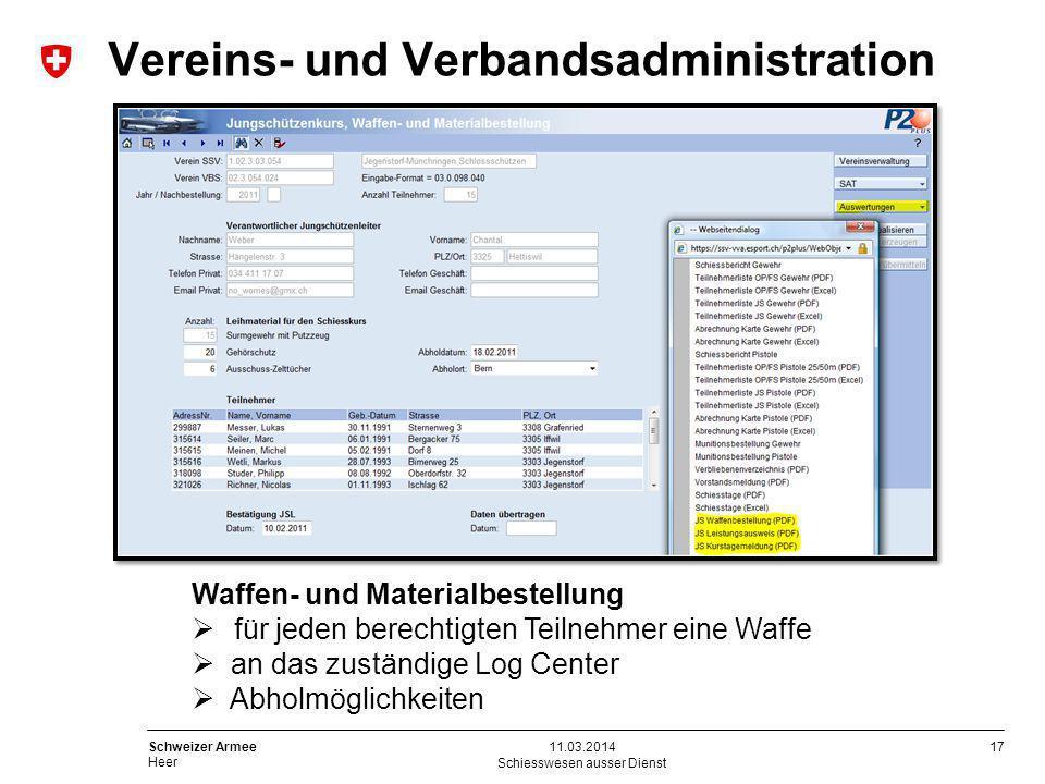 17 Schweizer Armee Heer Schiesswesen ausser Dienst 11.03.2014 Waffen- und Materialbestellung für jeden berechtigten Teilnehmer eine Waffe an das zustä