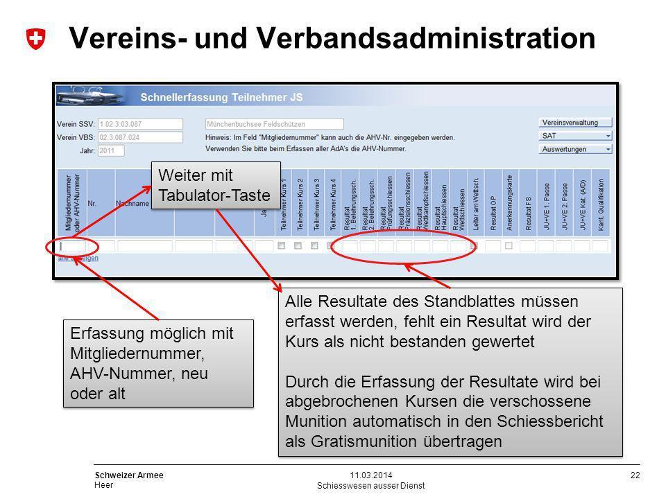 22 Schweizer Armee Heer Schiesswesen ausser Dienst 11.03.2014 Erfassung möglich mit Mitgliedernummer, AHV-Nummer, neu oder alt Weiter mit Tabulator-Ta