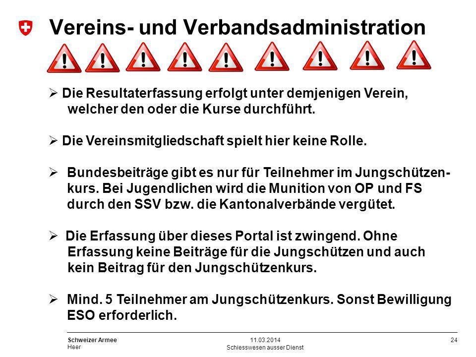 24 Schweizer Armee Heer Schiesswesen ausser Dienst 11.03.2014 Die Resultaterfassung erfolgt unter demjenigen Verein, welcher den oder die Kurse durchf