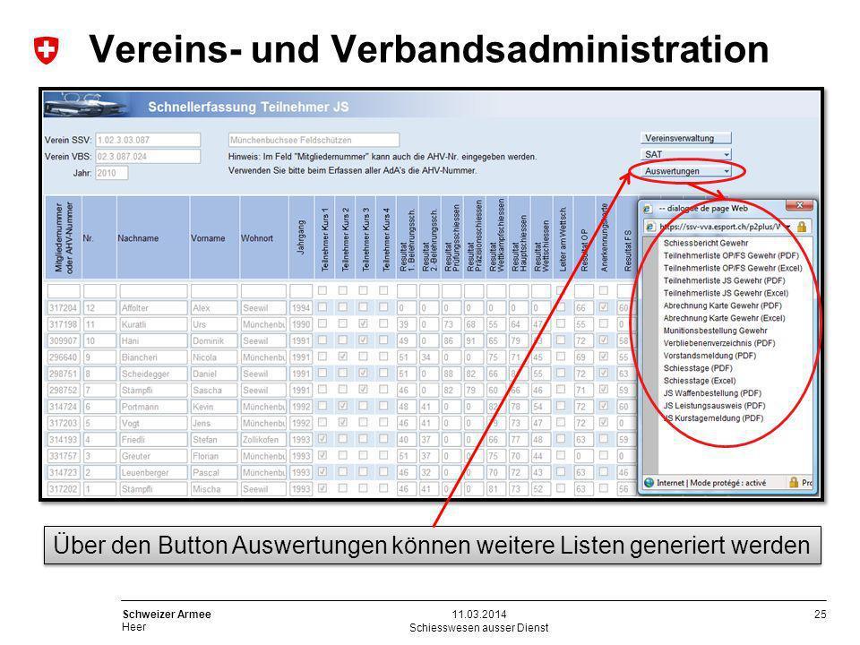 25 Schweizer Armee Heer Schiesswesen ausser Dienst 11.03.2014 Über den Button Auswertungen können weitere Listen generiert werden Vereins- und Verband