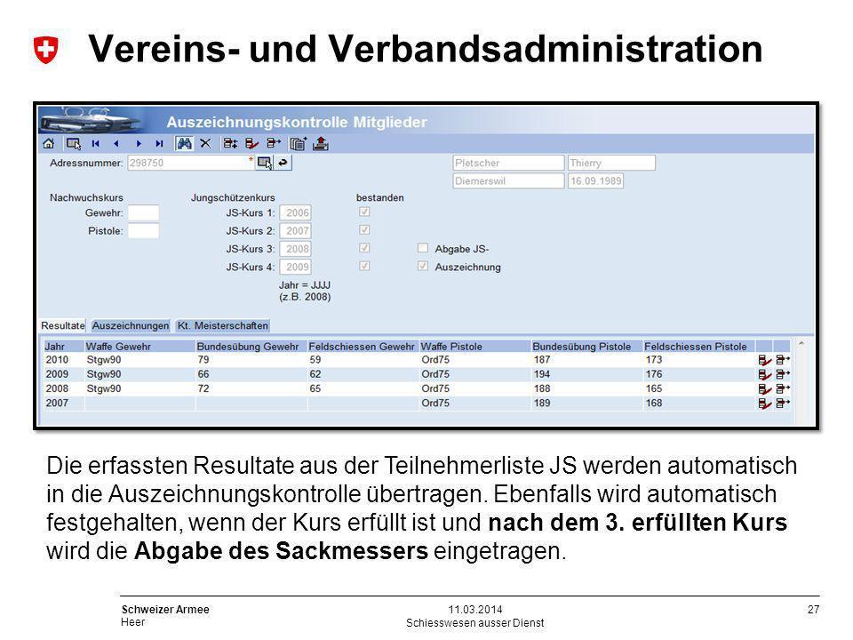 27 Schweizer Armee Heer Schiesswesen ausser Dienst 11.03.2014 Die erfassten Resultate aus der Teilnehmerliste JS werden automatisch in die Auszeichnun