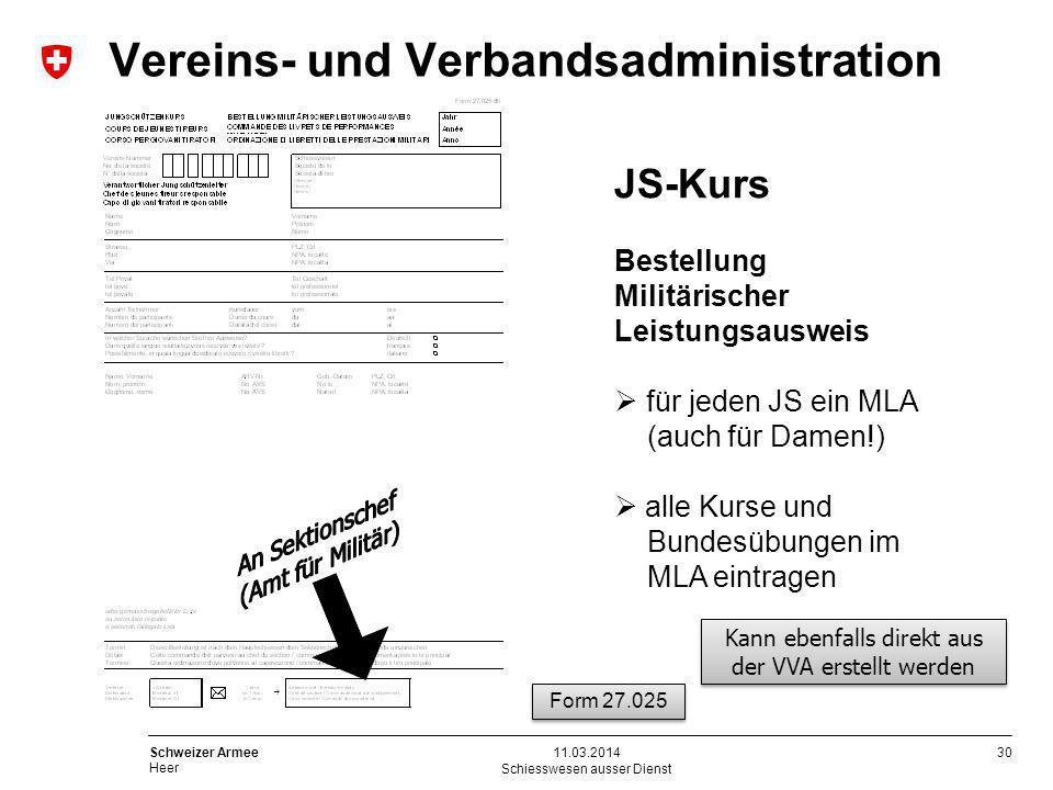 30 Schweizer Armee Heer Schiesswesen ausser Dienst 11.03.2014 JS-Kurs Bestellung Militärischer Leistungsausweis für jeden JS ein MLA (auch für Damen!)