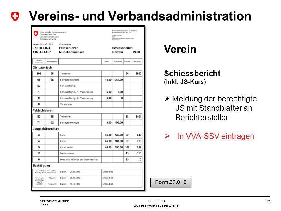 35 Schweizer Armee Heer Schiesswesen ausser Dienst 11.03.2014 Verein Schiessbericht (Inkl. JS-Kurs) Meldung der berechtigte JS mit Standblätter an Ber