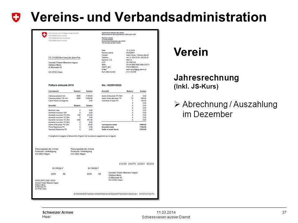 37 Schweizer Armee Heer Schiesswesen ausser Dienst 11.03.2014 Verein Jahresrechnung (Inkl. JS-Kurs) Abrechnung / Auszahlung im Dezember Vereins- und V