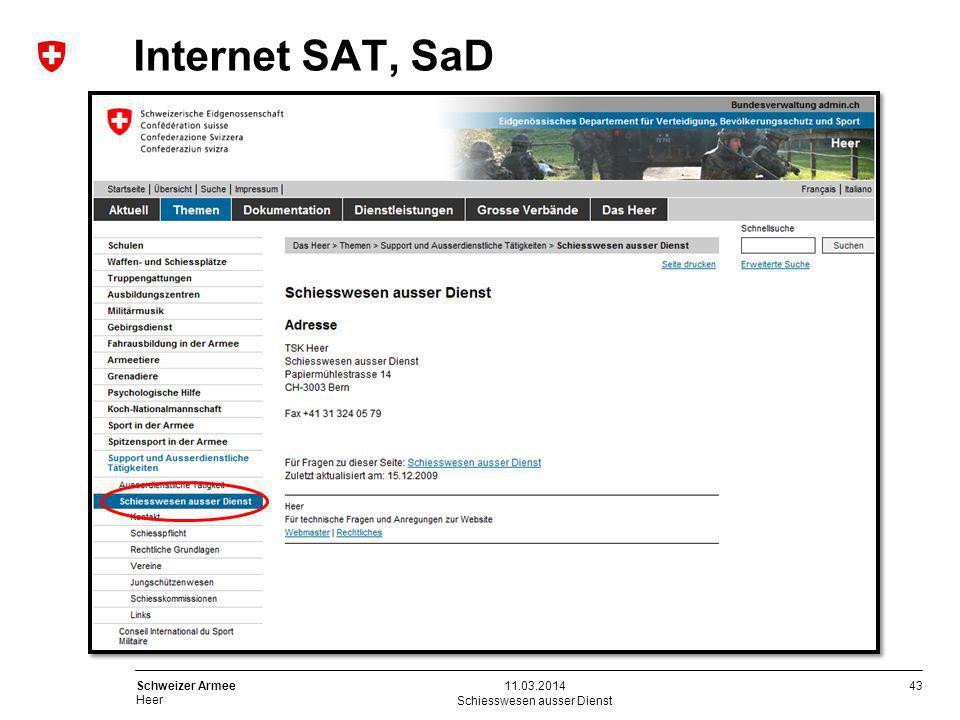 43 Schweizer Armee Heer Internet SAT, SaD Schiesswesen ausser Dienst 11.03.2014
