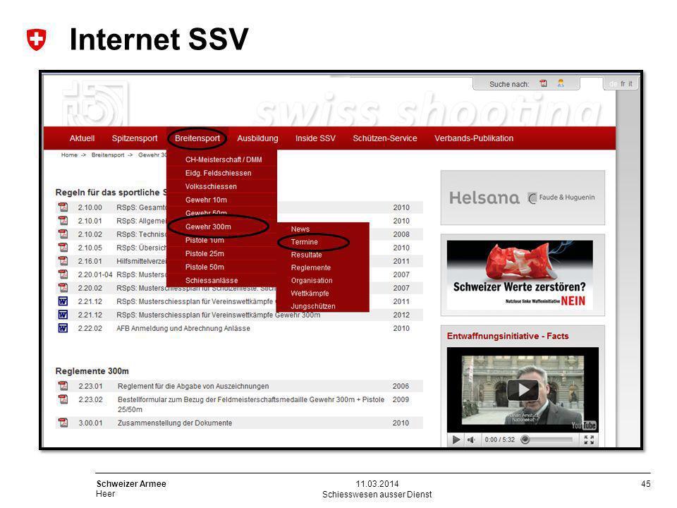45 Schweizer Armee Heer Internet SSV Schiesswesen ausser Dienst 11.03.2014