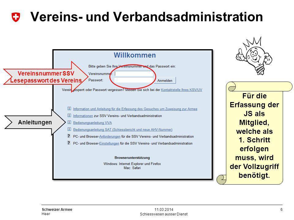 6 Schweizer Armee Heer Schiesswesen ausser Dienst 11.03.2014 Vereinsnummer SSV Lesepasswort des Vereins Für die Erfassung der JS als Mitglied, welche