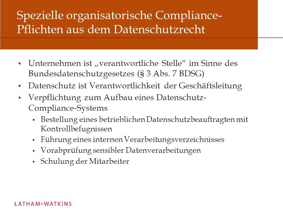 Ausgestaltung des datenschutzrechtlichen Compliance-Systems (1) Pflicht zur Bestellung eines betrieblichen Datenschutzbeauftragten (§ 4f Abs.