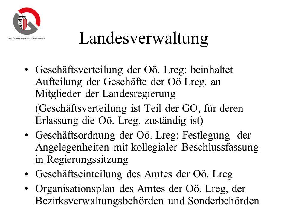 Landesverwaltung Geschäftsverteilung der Oö. Lreg: beinhaltet Aufteilung der Geschäfte der Oö Lreg. an Mitglieder der Landesregierung (Geschäftsvertei