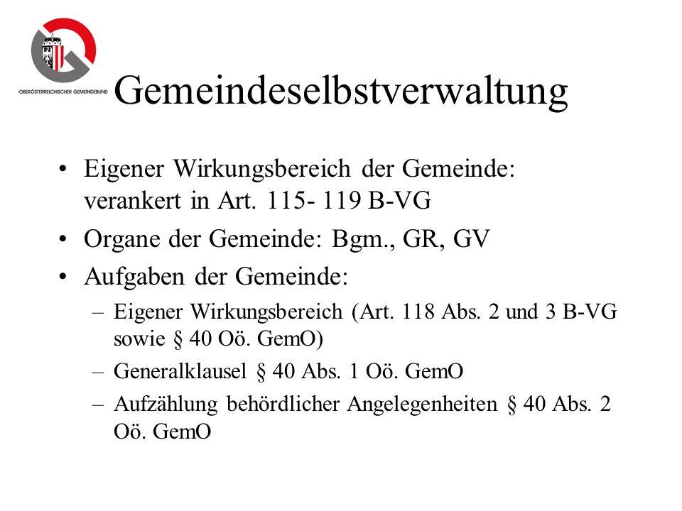 Gemeindeselbstverwaltung Eigener Wirkungsbereich der Gemeinde: verankert in Art. 115- 119 B-VG Organe der Gemeinde: Bgm., GR, GV Aufgaben der Gemeinde