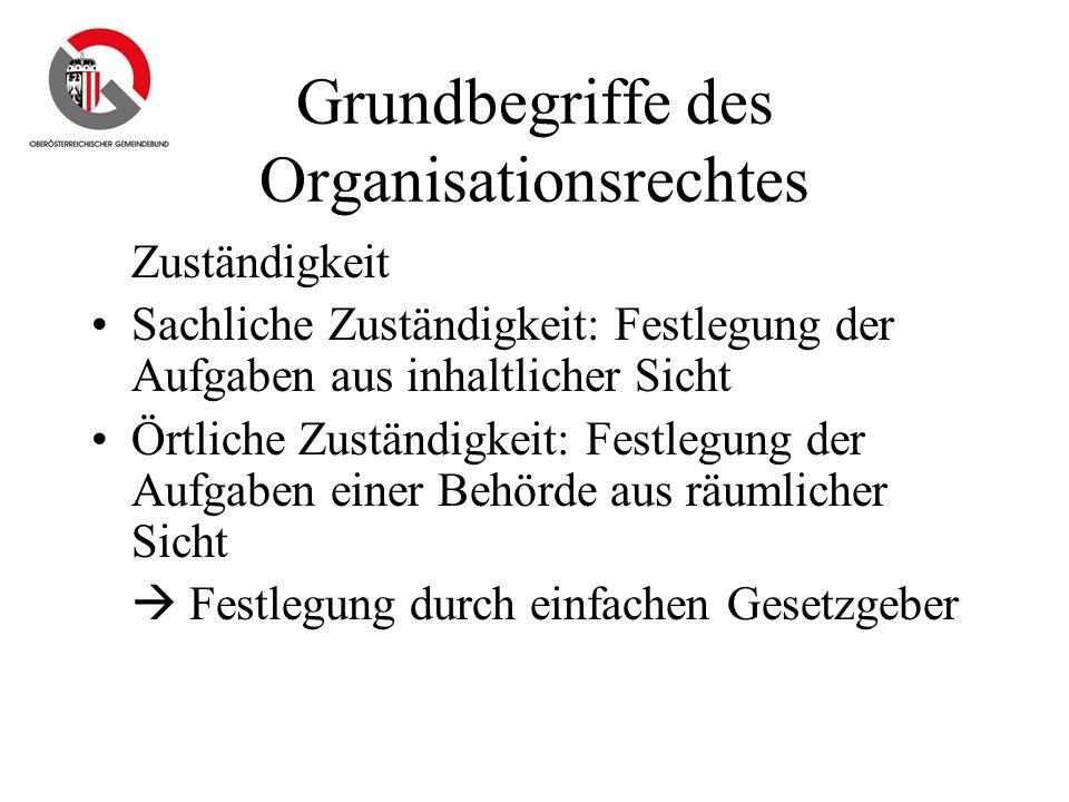 Grundbegriffe des Organisationsrechtes Zuständigkeit Sachliche Zuständigkeit: Festlegung der Aufgaben aus inhaltlicher Sicht Örtliche Zuständigkeit: F