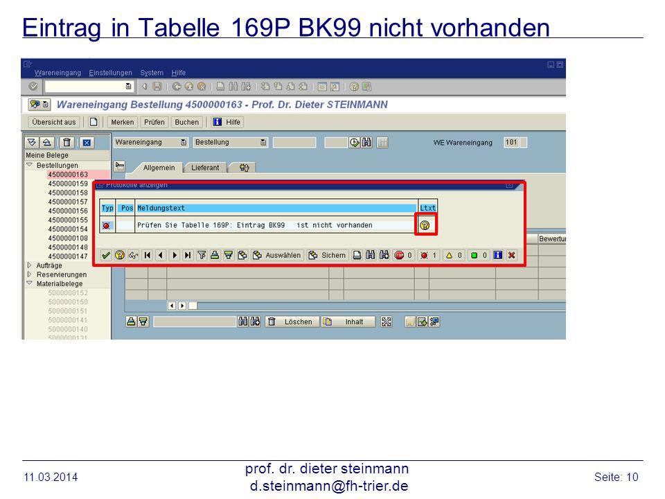 Eintrag in Tabelle 169P BK99 nicht vorhanden 11.03.2014 prof. dr. dieter steinmann d.steinmann@fh-trier.de Seite: 10