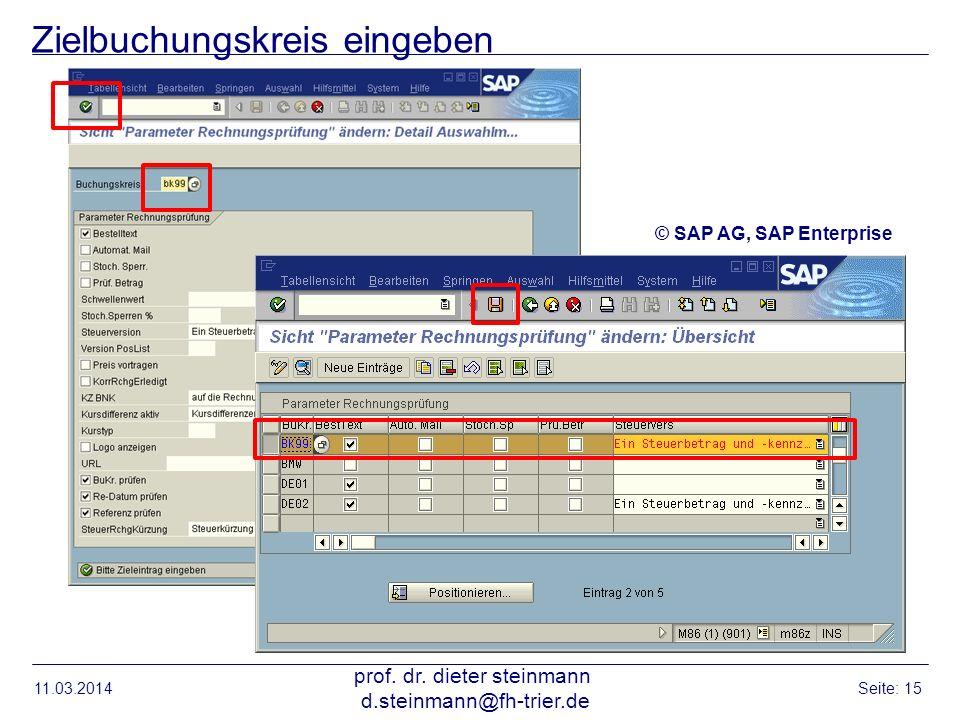 Zielbuchungskreis eingeben 11.03.2014 prof. dr. dieter steinmann d.steinmann@fh-trier.de Seite: 15 © SAP AG, SAP Enterprise