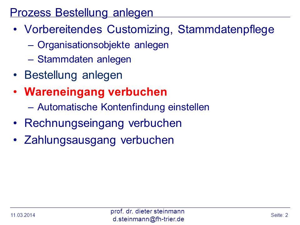 Prozess Bestellung anlegen Vorbereitendes Customizing, Stammdatenpflege –Organisationsobjekte anlegen –Stammdaten anlegen Bestellung anlegen Wareneing
