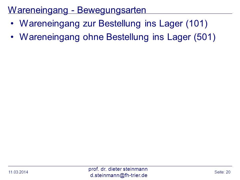 Wareneingang - Bewegungsarten Wareneingang zur Bestellung ins Lager (101) Wareneingang ohne Bestellung ins Lager (501) 11.03.2014 prof. dr. dieter ste