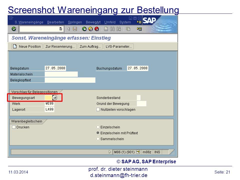 Screenshot Wareneingang zur Bestellung 11.03.2014 prof. dr. dieter steinmann d.steinmann@fh-trier.de Seite: 21 © SAP AG, SAP Enterprise
