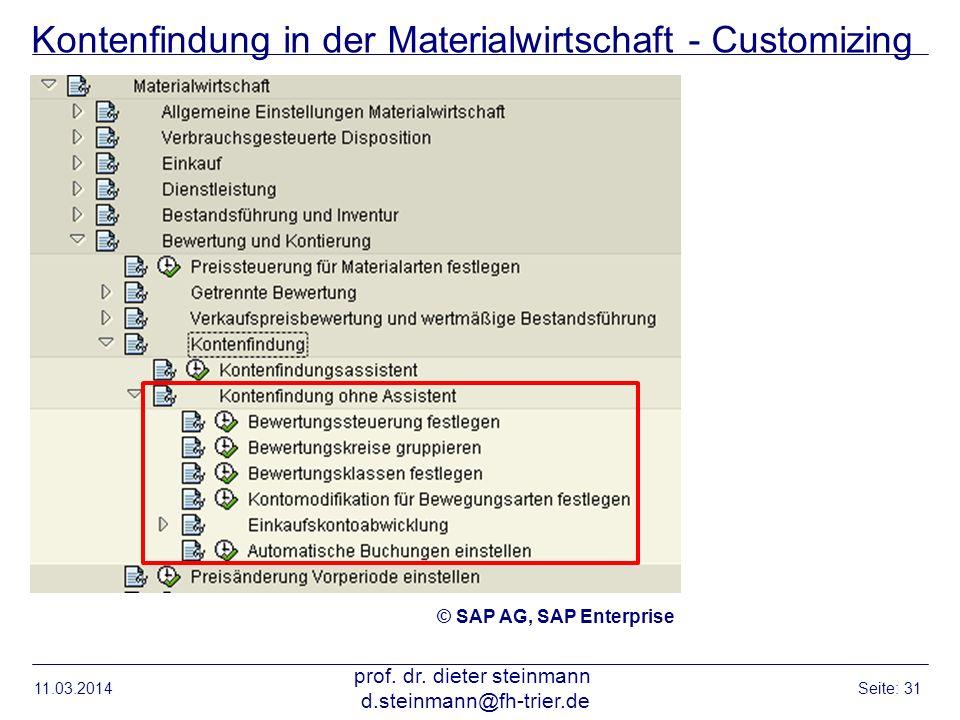 Kontenfindung in der Materialwirtschaft - Customizing 11.03.2014 prof. dr. dieter steinmann d.steinmann@fh-trier.de Seite: 31 © SAP AG, SAP Enterprise