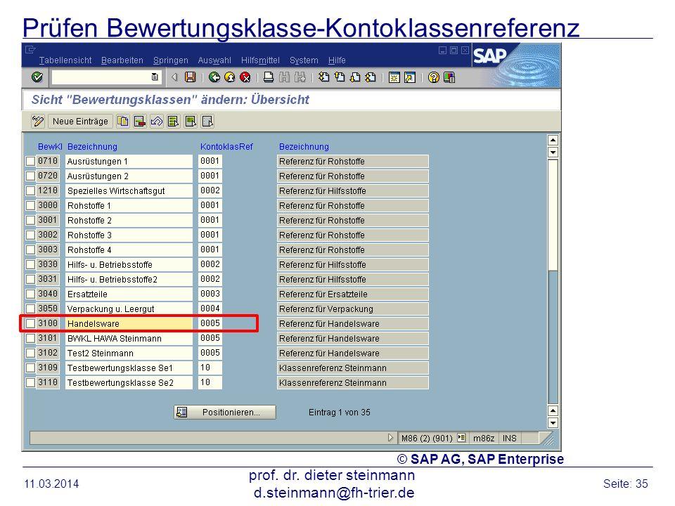 Prüfen Bewertungsklasse-Kontoklassenreferenz 11.03.2014 prof. dr. dieter steinmann d.steinmann@fh-trier.de Seite: 35 © SAP AG, SAP Enterprise