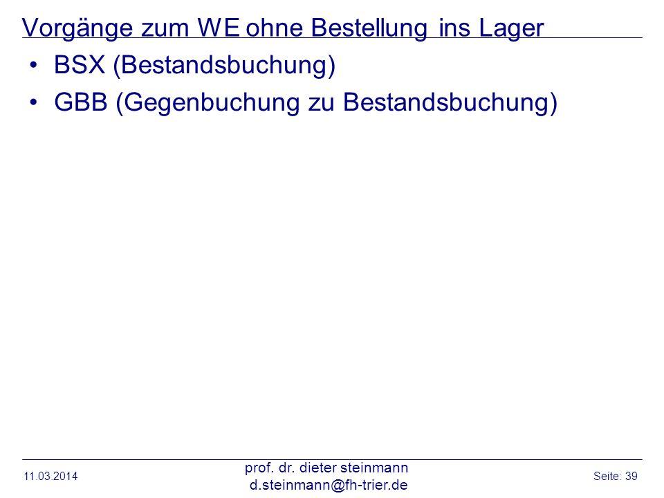 Vorgänge zum WE ohne Bestellung ins Lager BSX (Bestandsbuchung) GBB (Gegenbuchung zu Bestandsbuchung) 11.03.2014 prof. dr. dieter steinmann d.steinman
