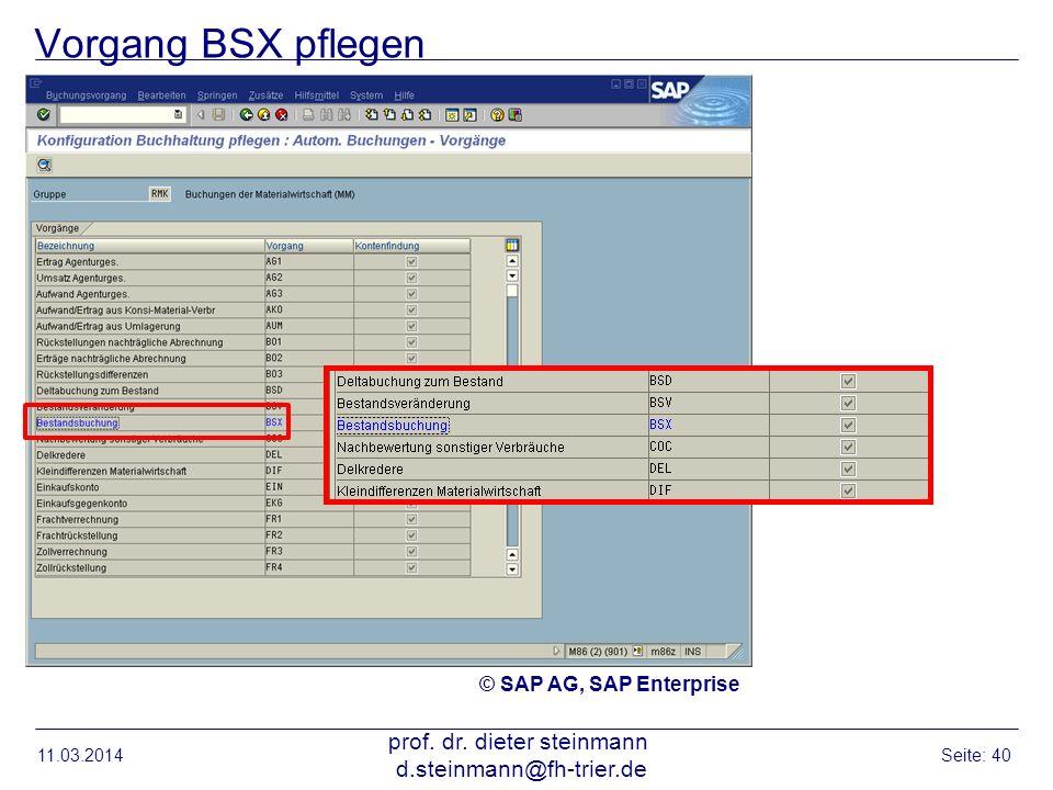 Vorgang BSX pflegen 11.03.2014 prof. dr. dieter steinmann d.steinmann@fh-trier.de Seite: 40 © SAP AG, SAP Enterprise