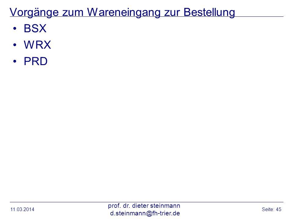 Vorgänge zum Wareneingang zur Bestellung BSX WRX PRD 11.03.2014 prof. dr. dieter steinmann d.steinmann@fh-trier.de Seite: 45